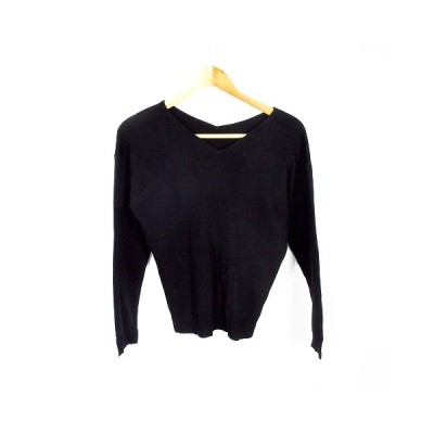 【中古】ミューズリファインドクローズ MEW'S REFINED CLOTHES ニット カットソー 長袖 無地 M 黒 ブラック /MO レディース 【ベクトル 古着】