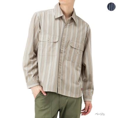 Dickies ディッキーズ シャツ 長袖 ワークシャツ カジュアルシャツ メンズ ストライプ ブランドロゴ 綿100%
