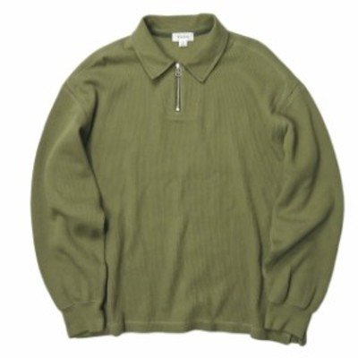 tone トーン 19AW 日本製 DOUBLE FACE SHIRT ダブルフェイスハーフジップポロシャツ TO-AW19-CLS04 3 Olive オリーブ 長袖