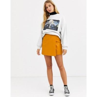 エイソス ASOS DESIGN レディース ミニスカート ラップスカート スカート wrap a line leather look mini skirt with snap buttons タン