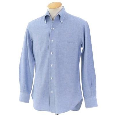 オリアン ORIAN カシミア混コットン ボタンダウンシャツ ブルー S