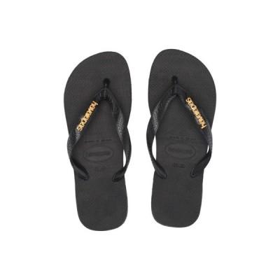ハワイアナス Havaianas レディース ビーチサンダル シューズ・靴 Top Logo Metallic Flip Flops Black