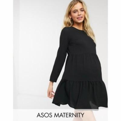 エイソス ASOS Maternity レディース ワンピース マタニティウェア Aライン Asos Design Maternity Long Sleeve Tiered Smock Mini Dres