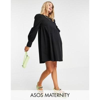 エイソス ASOS Maternity レディース ワンピース デニム マタニティウェア ウォッシュ加工 Maternity Soft Denim Puff Sleeve Smock Dress In Washed Black