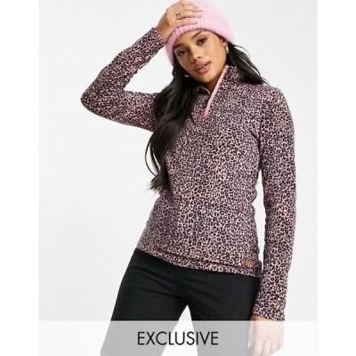 プロテスト レディース ニット・セーター アウター Protest Mutah 1/4 zip fleece in cheetah pink Exclusive at ASOS
