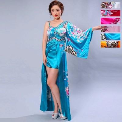 豪華ビジューサテン和柄ワンショルロング着物ドレス 和柄 花魁 コスプレ キャバドレス
