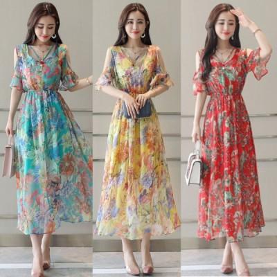 春夏 ドレス ロングドレス ワンピース 花柄 透け感 袖あり エレガント パーティ リゾート ビーチ