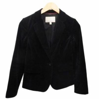【中古】バナナリパブリック BANANA REPUBLIC テーラードジャケット ショート丈 ベロア 1B 0 黒 ブラック レディース