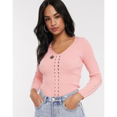 リバーアイランド レディース ニット&セーター アウター River Island v neck sweater in pink Pink light