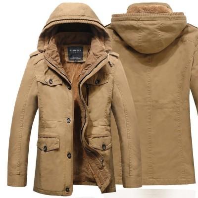 ミリタリージャケット 裏ボアコート メンズ ロング モッズコート 裏起毛 厚手 フード付き 大きいサイズ あったか 防風 防寒アウター ブルゾン ジャンパー