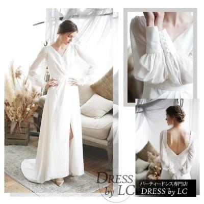 ウェディングドレス ロングドレス マキシドレス 透け感 デザイン袖 デザイントップス 異素材ミックス ロング マキシ Vネック 長袖 スリット