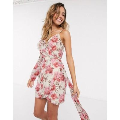 インザスタイル ミニドレス レディース In The Style x Billie Faiers one shoulder asymmetric wrap mini dress in contrast pink floral print エイソス ASOS