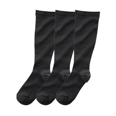 ふくらはぎサイズで選べる着圧ハイソックス3足組(ふくらはぎ40~45cm) ハイソックス・オーバーニー, Socks