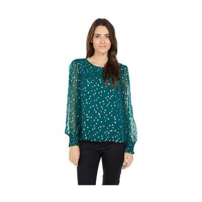 Lilly Pulitzer リリーピューリッツァー レディース 女性用 ファッション ブラウス Idina Silk Top - Spruce Green Gold Metallic Silk Clip