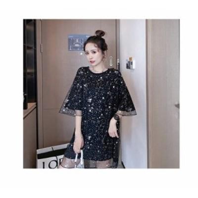 大きいサイズ春夏 韓国 レディース ファッション Tシャツワンピース LL-4L    レディースアパレル ドレス