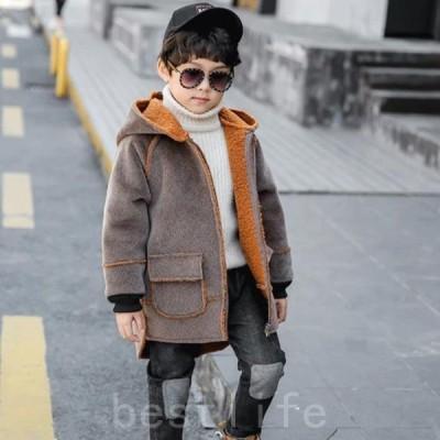 子供服厚手子ども服防寒フード付き綿コートキッズコート長袖男の子おしゃれ柄ウールコートカジュアルアウターアウトドア