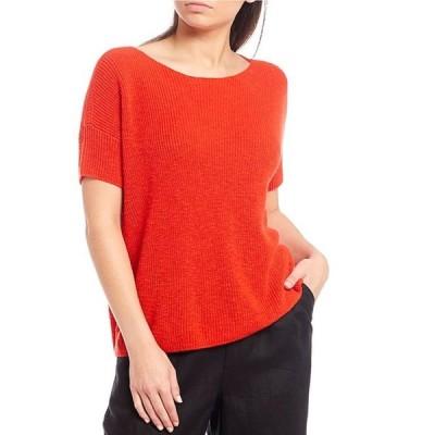 エイリーンフィッシャー レディース Tシャツ トップス Organic Cotton Linen Slub Jewel Neck Short Sleeve Box Top