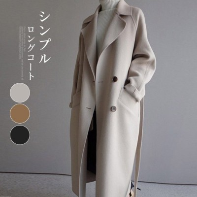 トレンチコート風 起毛タッチ アウター テーラードジャケット ロングコート ゆったり ビックカラー サイトスリット 春新作 暖か ポケット付 ベルト付