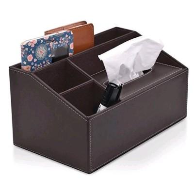 卓上収納ケース デスクオーガナイザー 小物入れ ペン立て リモコンラック 多機能収納ボックス PUレザー 高級感