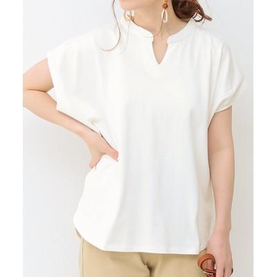 (SocialGIRL/ソーシャルガール)キーネックフレンチスリーブTシャツ/レディース オフホワイト