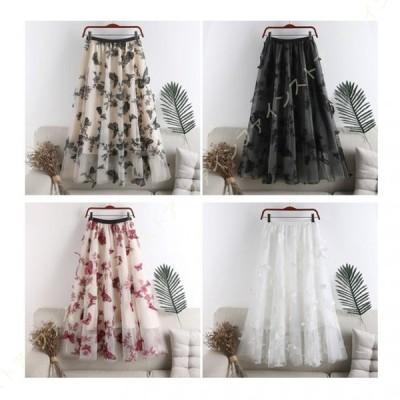 フリーサイズ レディース ゆったり ウエストゴム チュールスカート 花柄 Aライン フレア ロング丈スカート 万能スカート きれいめ 大人 チュール 蝶 かわいい