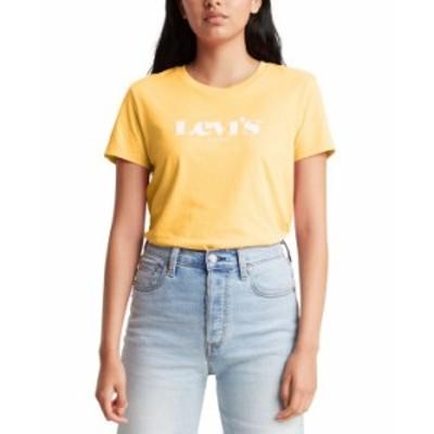 リーバイス レディース シャツ トップス Cotton Logo Perfect T-Shirt New Logo Kumquat