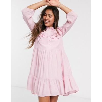 ワイエーエス レディース ワンピース トップス Y.A.S smock dress with ruffle detail in pink