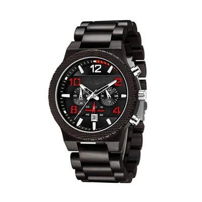 GORBEN Solid Wooden Watch Men Quartz Chronograph 6 Pins Luminous Hands Wood Watches Relogio Masculino with Box(Black) 並行輸入品