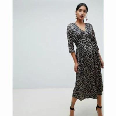 エイソス ワンピース Carly button through maxi dress in satin leopard print Multi