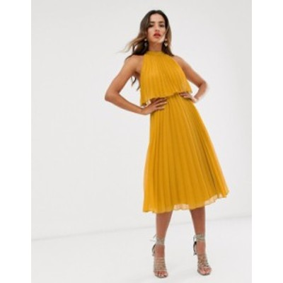 エイソス レディース ワンピース トップス ASOS DESIGN halter tie neck midi dress in pleat Mustard