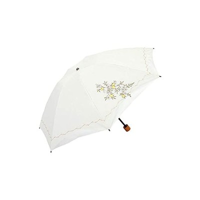 日傘 折りたたみ 遮光 遮熱 UVカット 3段折りたたみ日傘 晴雨兼用傘 軽量 刺繍 スワロフスキー (レモン・ホワイト)