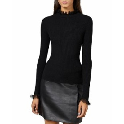 テッドベーカー レディース ニット・セーター アウター Dvana Frilled Trim Ribbed Sweater Black