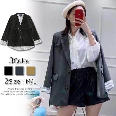 秋の新しいスーツのジャケットの女性のバックストライプシャツ偽の2つの小さなスーツ韓国9P399