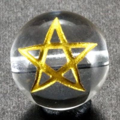 スター 水晶 金彫り 五芒星 10mm 【彫刻 一粒売りビーズ】 天然石 パワーストーン