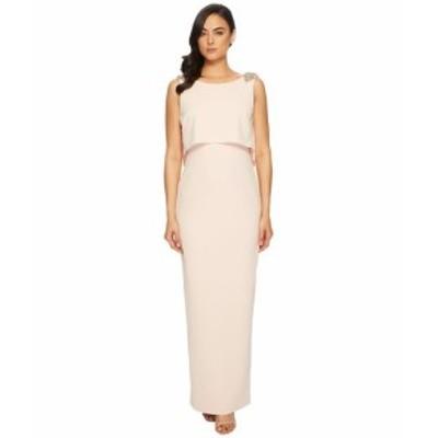 アドリアナパペル レディース ドレス Long Stretch Crepe Pop Over Gown with Beaded Shoulder Detail