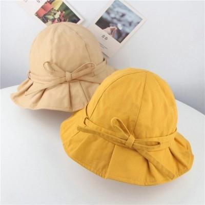 夏 屋外 ベビーバケットハット キッズ 女の子 帽子 ボウフィッシャーマンサンハット ソリッドカラー コットン 子供 ビーチキャップ 幼児 かわいい