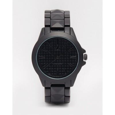 エイソス 腕時計 アクセサリー メンズ ASOS Pyramid Studded Bracelet Watch In Black