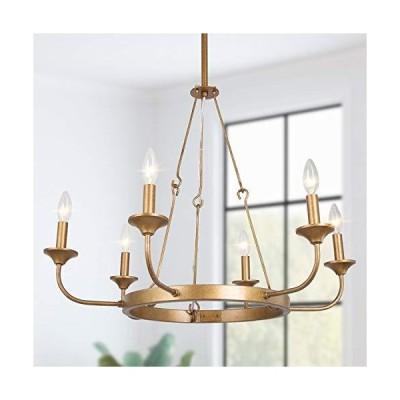[新品]LNC Farmhouse Chandeliers, Rustic Gold Wagon Wheel Pendant Lighting, 6-Light Dining Room Chandelier Lighting Fixtures Hanging, 2