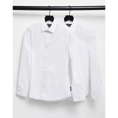 フレンチコネクション French Connection メンズ シャツ 2点セット トップス 2 Pack Slim Fit Formal Shirt ホワイト