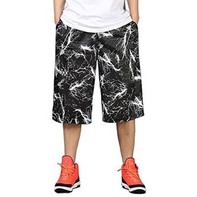 バスケットパンツ 大きめ ワイドパンツ スポーツ ハーフパンツ 短パン メンズ(ブラック  XL)