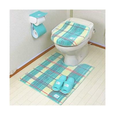 トイレマット セット ロング おしゃれ 4点 洗浄暖房 普通 共用 チェック かわいい ふわふわ 耳長 オカ エブリー グリーン