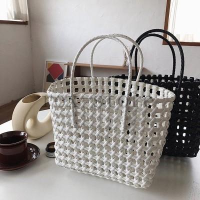 かごバッグビニールレディース大きめメッシュ編みバッグバスケットビニールバッグ夏白黒韓国ファッション