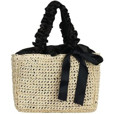 Pugrwei フリルハンドル かごバッグ レディース ストローバッグ 可愛い ハンドバッグ 麦わら 夏 バッグ 編みかご 草編みバッグ ビーチ 花火