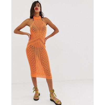 エイソス ミディドレス レディース ASOS DESIGN crochet midi dress エイソス ASOS