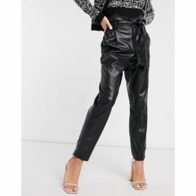 ビービーダコタ BB Dakota レディース ボトムス・パンツ vegan friendly leather high waist belted trouser in black ブラック