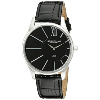 ストゥーリング オリジナル 腕時計 メンズウォッチ Stuhrling Original Men's 553.33151 Classic Cuvette SD Stainless Steel and Black Leather Strap Watch