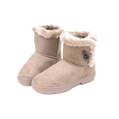 ブーツ ムートン ボア モコモコ 暖かい ボタン (3-1F) ブラック ペタンコ 3.5cm ZE-3059