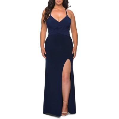 ラフェム レディース ワンピース トップス Plus Size Ruched Bodice Jersey Gown with Lace-Up Back