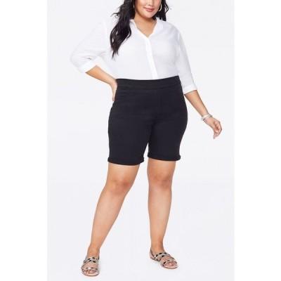 """エヌワイディージェイ カジュアルパンツ ボトムス レディース Women's Plus Size 9"""" Pull-On Jeans Shorts Black"""