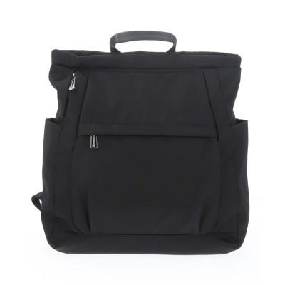 (BASE/ベース)A4マルチポケット軽量ナイロンリュック/レディース ブラック
